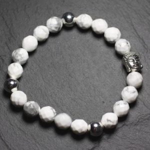 Buddha and gemstone – faceted 8mm Howlite bracelet | Natural genuine Gemstone bracelets. Buy crystal jewelry, handmade handcrafted artisan jewelry for women.  Unique handmade gift ideas. #jewelry #beadedbracelets #beadedjewelry #gift #shopping #handmadejewelry #fashion #style #product #bracelets #affiliate #ad