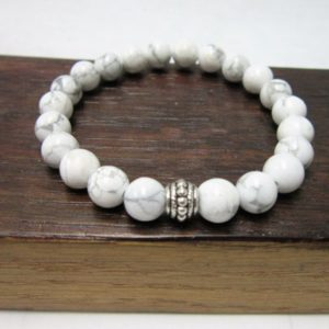 Shop Howlite Bracelets! Howlite Bracelet Healing Howlite Bracelet Howlite Third Eye Chakra Bracelet Meditation Yoga Bracelet Howlite Gemini Yoga Bracelet Insomnia | Natural genuine Howlite bracelets. Buy crystal jewelry, handmade handcrafted artisan jewelry for women.  Unique handmade gift ideas. #jewelry #beadedbracelets #beadedjewelry #gift #shopping #handmadejewelry #fashion #style #product #bracelets #affiliate #ad