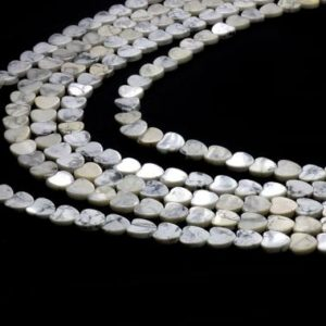 """Heart beads,howlite beads,white beads,gemstone beads,unique beads,symbol beads,heart stone beads,10mm beads – 16"""" Strand 