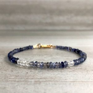 """Shop Iolite Jewelry! 7"""" Gold Iolite Bracelet 