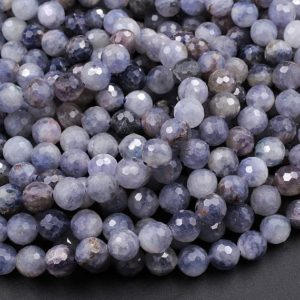 "Shop Iolite Beads! Faceted Natural Iolite Round Beads 8mm Genuine Real Blue Purple Iolite Gemstone 15.5"" Strand 