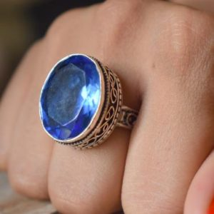 Shop Iolite Rings! US Size 7 – iolite gemstone ring, 925 sterling silver, statement ring, iolite ring , artisan silver ring #SC68 | Natural genuine Iolite rings, simple unique handcrafted gemstone rings. #rings #jewelry #shopping #gift #handmade #fashion #style #affiliate #ad