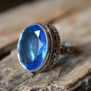 Shop Iolite Rings! Us Size 8.5 – Iolite Gemstone Ring, 925 Sterling Silver, Statement Ring, Iolite Ring , Artisan Silver Ring #sc62 | Natural genuine Iolite rings, simple unique handcrafted gemstone rings. #rings #jewelry #shopping #gift #handmade #fashion #style #affiliate #ad