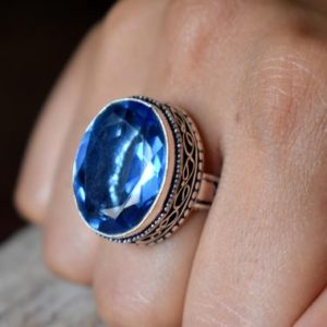 Shop Iolite Rings! Us Size 8 – Iolite Gemstone Ring, 925 Sterling Silver, Statement Ring, Iolite Ring , Artisan Silver Ring #sc41 | Natural genuine Iolite rings, simple unique handcrafted gemstone rings. #rings #jewelry #shopping #gift #handmade #fashion #style #affiliate #ad
