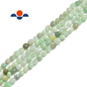 "Shop Jade Chip & Nugget Beads! Natural Green Jade Pebble Nugget Beads Approx 6-8mm 15.5"" Strand 