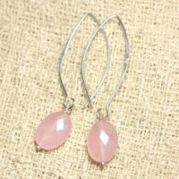 Earrings 925 Sterling Silver And Pink Jade Stone – Clear Oval Faceted 14 Mm | Natural genuine Gemstone jewelry. Buy crystal jewelry, handmade handcrafted artisan jewelry for women.  Unique handmade gift ideas. #jewelry #beadedjewelry #beadedjewelry #gift #shopping #handmadejewelry #fashion #style #product #jewelry #affiliate #ad