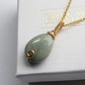 Shop Jade Jewelry! Gold jade necklace gold jade jewelry sage green jadeite teardrop pendant necklace wire wrapped jade pendant Burmese jadeite necklace | Natural genuine Jade jewelry. Buy crystal jewelry, handmade handcrafted artisan jewelry for women.  Unique handmade gift ideas. #jewelry #beadedjewelry #beadedjewelry #gift #shopping #handmadejewelry #fashion #style #product #jewelry #affiliate #ad