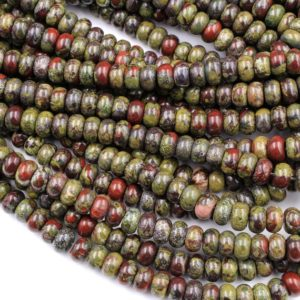 "Shop Jasper Rondelle Beads! Natural Dragon Blood Jasper Rondelle 8x5mm Beads Polished Earthy Red Green Stone 15.5"" Strand 