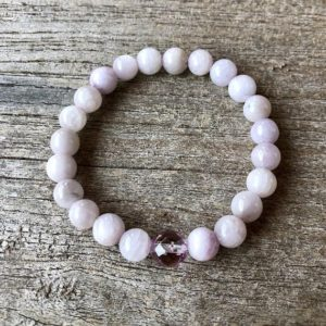 Shop Kunzite Jewelry! Kunzite and Rose Aura Grounding Bracelet WS2849 | Natural genuine Kunzite jewelry. Buy crystal jewelry, handmade handcrafted artisan jewelry for women.  Unique handmade gift ideas. #jewelry #beadedjewelry #beadedjewelry #gift #shopping #handmadejewelry #fashion #style #product #jewelry #affiliate #ad