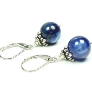 Shop Kyanite Earrings! Blue Kyanite Sterling Silver Earrings natural deep blue gemstone classic boho statement dangle drops birthday mothers day gift for her 5609 | Natural genuine Kyanite earrings. Buy crystal jewelry, handmade handcrafted artisan jewelry for women.  Unique handmade gift ideas. #jewelry #beadedearrings #beadedjewelry #gift #shopping #handmadejewelry #fashion #style #product #earrings #affiliate #ad