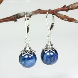 Shop Kyanite Earrings! Blue Kyanite Sterling Silver Earrings natural deep blue gemstone classic dangle drops, holiday gift for mom sister wife girlfriend  5800 | Natural genuine Kyanite earrings. Buy crystal jewelry, handmade handcrafted artisan jewelry for women.  Unique handmade gift ideas. #jewelry #beadedearrings #beadedjewelry #gift #shopping #handmadejewelry #fashion #style #product #earrings #affiliate #ad