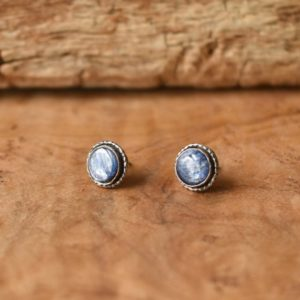 Shop Kyanite Earrings! Hammered Kyanite Earrings – Blue Kyanite Studs – Sterling Silver Posts – Blue Kyanite Posts | Natural genuine Kyanite earrings. Buy crystal jewelry, handmade handcrafted artisan jewelry for women.  Unique handmade gift ideas. #jewelry #beadedearrings #beadedjewelry #gift #shopping #handmadejewelry #fashion #style #product #earrings #affiliate #ad