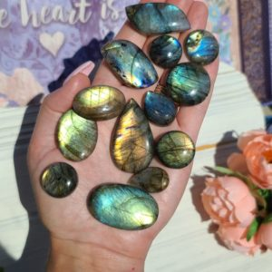 Shop Labradorite Cabochons! Labradorite Cabochon, Choose Your Crystal Gemstone for Jewelry Making or Crystal Grids | Natural genuine stones & crystals in various shapes & sizes. Buy raw cut, tumbled, or polished gemstones for making jewelry or crystal healing energy vibration raising reiki stones. #crystals #gemstones #crystalhealing #crystalsandgemstones #energyhealing #affiliate #ad