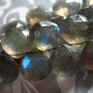 Shop Labradorite Bead Shapes! LABRADORITE Heart Briolettes Beads, Luxe AAA, 6 to 20 pcs, 7-9 mm, Gray, blue flashes neutral brides bridal something blue wholesale | Natural genuine other-shape Labradorite beads for beading and jewelry making.  #jewelry #beads #beadedjewelry #diyjewelry #jewelrymaking #beadstore #beading #affiliate #ad
