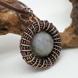 Shop Labradorite Pendants! Labradorite Circle Pendant, Wire Wrapped Jewellery, Fidget Necklace | Natural genuine Labradorite pendants. Buy crystal jewelry, handmade handcrafted artisan jewelry for women.  Unique handmade gift ideas. #jewelry #beadedpendants #beadedjewelry #gift #shopping #handmadejewelry #fashion #style #product #pendants #affiliate #ad
