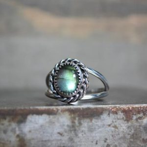 Shop Labradorite Rings! Labradorite Ring, Labradorite, Double Band, Sterling Silver, Rope Bezel Ring, Gemstone Ring, Open Silver Ring, Labradorite Gemstone, Silver | Natural genuine Labradorite rings, simple unique handcrafted gemstone rings. #rings #jewelry #shopping #gift #handmade #fashion #style #affiliate #ad