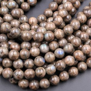 "Rare Natural Chocolate Labradorite 4mm 6mm 8mm 10mm 12mm Round Beads 15.5"" Strand 