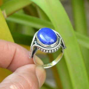 Shop Lapis Lazuli Rings! Natural Lapis Lazuli Ring, 925 Silver Rings, Women Jewelry, 12×16 mm Oval Lapis Ring, Boho Ring, Gemstone Silver Rings, Oxidized Silver Ring | Natural genuine Lapis Lazuli rings, simple unique handcrafted gemstone rings. #rings #jewelry #shopping #gift #handmade #fashion #style #affiliate #ad