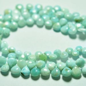"""8"""" Strand Natural Larimar Heart Beads 6mm to 7mm Smooth Heart Beads Superb Larimar Stone Smooth Gemstone Beads No3826 