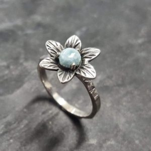 Shop Larimar Rings! Larimar Ring, Natural Larimar, March Birthstone, Silver Flower Ring, Blue Vintage Ring, Flower Ring, Unique Stone Ring, Solid Silver Ring | Natural genuine Larimar rings, simple unique handcrafted gemstone rings. #rings #jewelry #shopping #gift #handmade #fashion #style #affiliate #ad