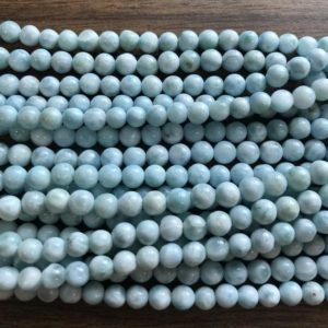 Shop Larimar Round Beads! 100% natural 5mm round Dominican Larimar Gemstone beads Grade AAA  -15.5 inch strand-1strand/3 strands | Natural genuine round Larimar beads for beading and jewelry making.  #jewelry #beads #beadedjewelry #diyjewelry #jewelrymaking #beadstore #beading #affiliate #ad