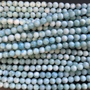 Shop Larimar Round Beads! Dominican Republic Larimar 8 mm Round  Larimar Beads–15.5 inches Gemstone Beads | Natural genuine round Larimar beads for beading and jewelry making.  #jewelry #beads #beadedjewelry #diyjewelry #jewelrymaking #beadstore #beading #affiliate #ad