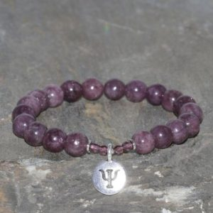 Shop Lepidolite Bracelets! Lepidolite Beaded Bracelet, 8mm Natural Lepidolite Beads, 4mm Faceted Czech Crystals, Gemstone Bracelet, Unisex Bracelet, Silver Soul Symbol | Natural genuine Lepidolite bracelets. Buy crystal jewelry, handmade handcrafted artisan jewelry for women.  Unique handmade gift ideas. #jewelry #beadedbracelets #beadedjewelry #gift #shopping #handmadejewelry #fashion #style #product #bracelets #affiliate #ad