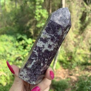 Shop Lepidolite Points & Wands! Lepidolite tower, calming, soothing, crystal tower, with pink tourmaline | Natural genuine stones & crystals in various shapes & sizes. Buy raw cut, tumbled, or polished gemstones for making jewelry or crystal healing energy vibration raising reiki stones. #crystals #gemstones #crystalhealing #crystalsandgemstones #energyhealing #affiliate #ad