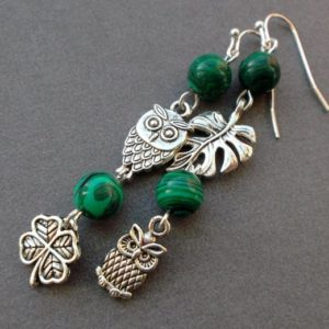 Shop Malachite Earrings! Different Silver earrings Owls MALACHITE. Asymmetrical earrings dangle Mismatched earrings Gift Idea For women For sister For girlfriend | Natural genuine Malachite earrings. Buy crystal jewelry, handmade handcrafted artisan jewelry for women.  Unique handmade gift ideas. #jewelry #beadedearrings #beadedjewelry #gift #shopping #handmadejewelry #fashion #style #product #earrings #affiliate #ad