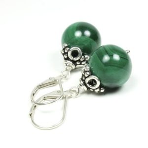 Shop Malachite Earrings! Malachite Sterling Silver Earrings natural deep green gemstone classic dangle stone drops birthday mother's day gift for her mom wife 5799 | Natural genuine Malachite earrings. Buy crystal jewelry, handmade handcrafted artisan jewelry for women.  Unique handmade gift ideas. #jewelry #beadedearrings #beadedjewelry #gift #shopping #handmadejewelry #fashion #style #product #earrings #affiliate #ad