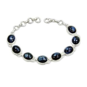 """Stormy Ocean' Pietersite Bracelet in Sterling Silver, Adjustable Bracelet 6.5""""-7.5"""" – Blue Bracelet – AE929 The Silver Plaza Gift 