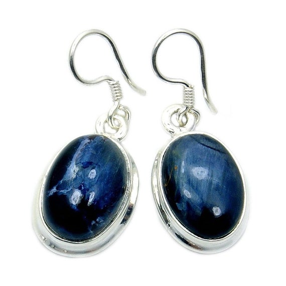 Midnight Ocean' Natural Pietersite Earrings, 925 Sterling Silver Ae194 Ae157 The Silver Plaza