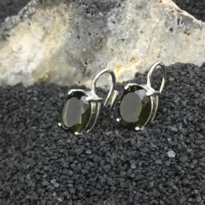 Shop Moldavite Earrings! Marvelous Miranda Faceted Moldavite Earrings (8×10) Sterling, Rhodium, or Multi-Faced | Natural genuine Moldavite earrings. Buy crystal jewelry, handmade handcrafted artisan jewelry for women.  Unique handmade gift ideas. #jewelry #beadedearrings #beadedjewelry #gift #shopping #handmadejewelry #fashion #style #product #earrings #affiliate #ad
