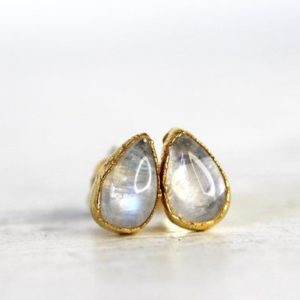 Moonstone Earrings – Tiny Stone Studs – Sterling Silver Earrings – Bridal Jewelry – Gold Moonstone Studs | Natural genuine Gemstone earrings. Buy handcrafted artisan wedding jewelry.  Unique handmade bridal jewelry gift ideas. #jewelry #beadedearrings #gift #crystaljewelry #shopping #handmadejewelry #wedding #bridal #earrings #affiliate #ad