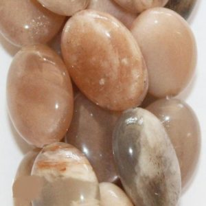 "Genuine Peach Moonstone Oval  Beads – 14 x 10 mm Gemstone Beads – Full Strand 15 1/2"", 28 beads, A-Quality 
