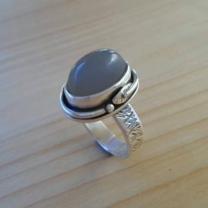 Shop Moonstone Rings! Grey Moonstone Sterling Silver Ring, Silversmith Jewelry, Leaf Silver Ring, Artisan Jewelry, Gemstone Silver Ring, Moonstone Jewelry | Natural genuine Moonstone rings, simple unique handcrafted gemstone rings. #rings #jewelry #shopping #gift #handmade #fashion #style #affiliate #ad