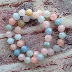 Shop Morganite Bracelets! Natural Morganite Beads Bracelet Semi-precious Gemstone Round Beads Bracelet | Natural genuine Morganite bracelets. Buy crystal jewelry, handmade handcrafted artisan jewelry for women.  Unique handmade gift ideas. #jewelry #beadedbracelets #beadedjewelry #gift #shopping #handmadejewelry #fashion #style #product #bracelets #affiliate #ad
