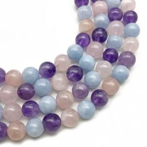 Shop Morganite Round Beads! 10mm Natural Mixed Color Morganite Beads, Round Gemstone Beads, Wholesale Beads | Natural genuine round Morganite beads for beading and jewelry making.  #jewelry #beads #beadedjewelry #diyjewelry #jewelrymaking #beadstore #beading #affiliate #ad
