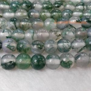 """Shop Moss Agate Beads! 15"""" 6mm Natural Moss agate round beads,good transparency,Natural Green gemstone, semi-precious stone, DIY jewelry beads, gemstone wholesaler 