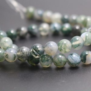 6mm/8mm/10mm/12mm Moss Agate Beads,Smooth and Round Stone Beads,15 inches one starand | Natural genuine round Gemstone beads for beading and jewelry making.  #jewelry #beads #beadedjewelry #diyjewelry #jewelrymaking #beadstore #beading #affiliate #ad