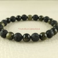 Silver Obsidian And Black Lava Bracelet, Healing For Men & Women, Purification, Psychic Ability, Fulfilment, Gift For Men And Women 3872 | Natural genuine Gemstone jewelry. Buy handcrafted artisan men's jewelry, gifts for men.  Unique handmade mens fashion accessories. #jewelry #beadedjewelry #beadedjewelry #shopping #gift #handmadejewelry #jewelry #affiliate #ad