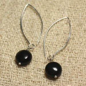 Shop Obsidian Earrings! Earrings Silver 925 hooks 40mm – obsidian black beads 10 mm | Natural genuine Obsidian earrings. Buy crystal jewelry, handmade handcrafted artisan jewelry for women.  Unique handmade gift ideas. #jewelry #beadedearrings #beadedjewelry #gift #shopping #handmadejewelry #fashion #style #product #earrings #affiliate #ad
