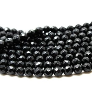 "Shop Onyx Faceted Beads! Gemstone beads,black onyx beads,black beads,round beads,faceted beads,faceted rounds,natural stone beads,AA Quality – 16"" Strand 