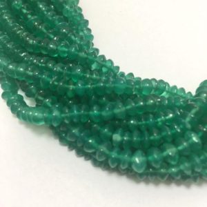 Shop Onyx Rondelle Beads! Green Onyx Plain Rondelle 4mm to 5mm 13 Inches strand Semiprecious stone beads/Green Beads/Semiprecious stone Beads/Rondelle Beads | Natural genuine rondelle Onyx beads for beading and jewelry making.  #jewelry #beads #beadedjewelry #diyjewelry #jewelrymaking #beadstore #beading #affiliate #ad