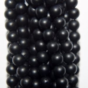 "Shop Onyx Round Beads! Genuine Matte Black Onyx Beads – Round 4 Mm Gemstone Beads – Full Strand 16"", 98 Beads, Aa Quality 