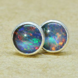 Blue Opal Earrings made with genuine Sterling Silver studs. 5mm diameter October birthday gift. | Natural genuine Opal earrings. Buy crystal jewelry, handmade handcrafted artisan jewelry for women.  Unique handmade gift ideas. #jewelry #beadedearrings #beadedjewelry #gift #shopping #handmadejewelry #fashion #style #product #earrings #affiliate #ad