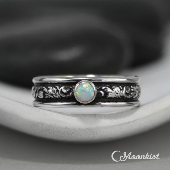 Mens Opal Ring, Sterling Silver Mens Opal Engagement Ring, Opal Wedding Band | Moonkist Designs