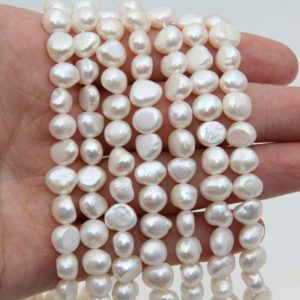 Shop Freshwater Pearls! Fresh Water Nugget Pearl Beads,White Color Pearl,Loose Pearl Beads,8~9mm Size Pearl,Natural Seed Freshwater Pearl,Good Pearl Jewelry Beads. | Natural genuine beads Pearl beads for beading and jewelry making.  #jewelry #beads #beadedjewelry #diyjewelry #jewelrymaking #beadstore #beading #affiliate #ad