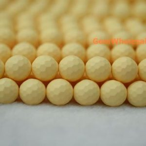 "Shop Pearl Faceted Beads! 15.5"" 8mm/10mm Matte Shell pearl round faceted beads light yellow color,Matte light yellow shell pearl, jewelry supply, HJF3 