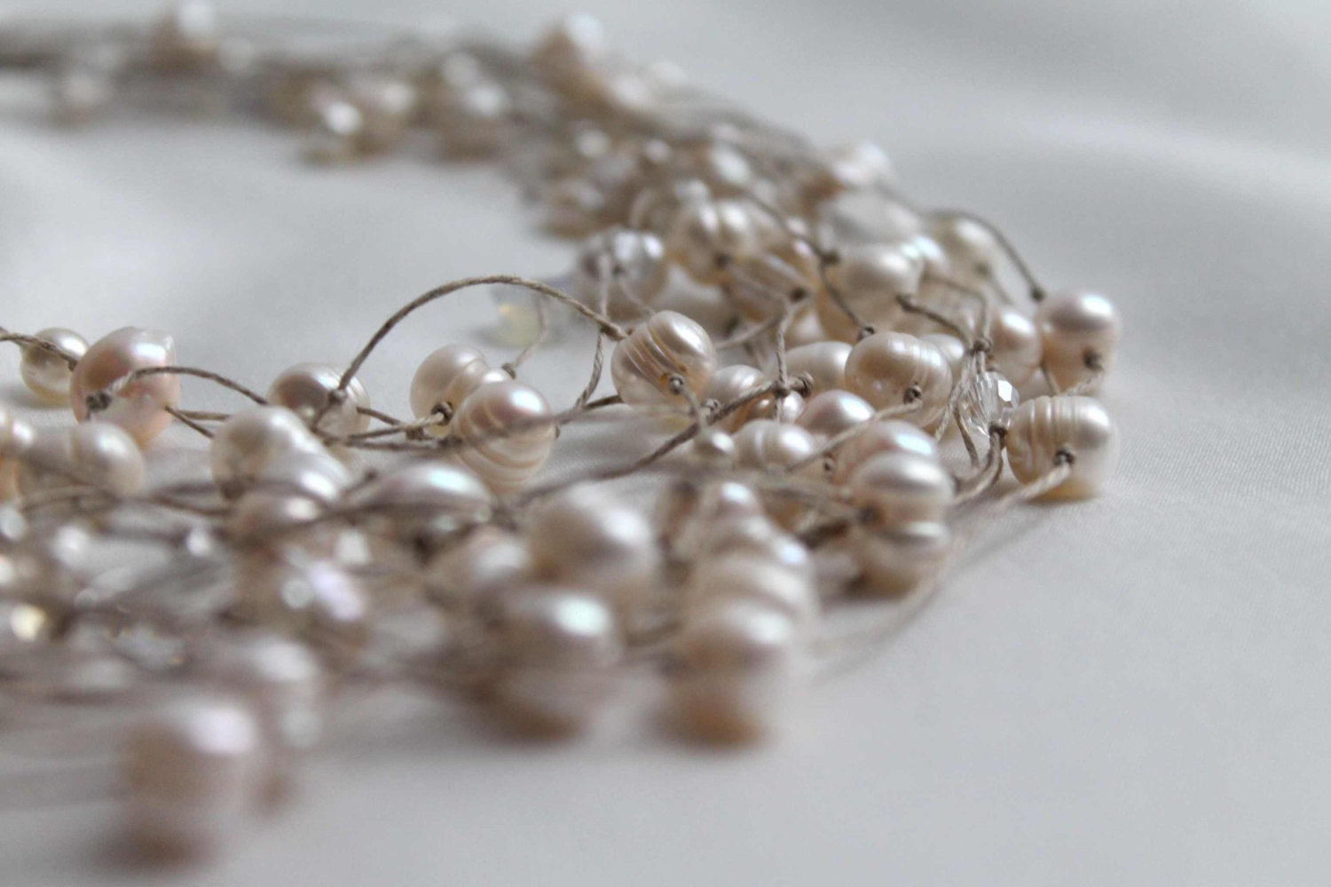 Pearl Necklace / Wedding Necklace  / Multi Strand Pearl Jewelry / Bridal Bridesmaids  / Gift For Her / Valentines